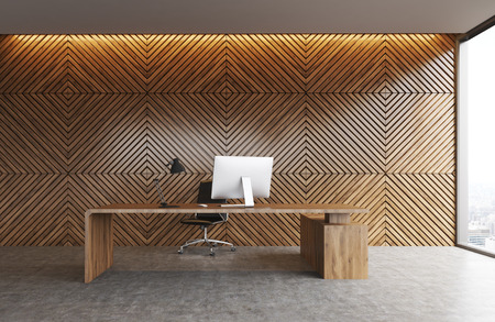 ceo office: Office table made of wood standing against wooden wall background in office with panoramic window. Concept of modern CEO workplace. 3d rendering.