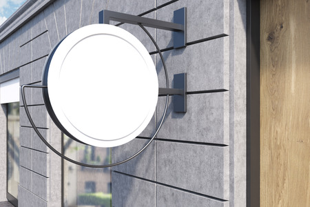 restaurant bill: Round sign post on building wall with window and wooden door. Concept of local business. 3d rendering. Mock up Stock Photo