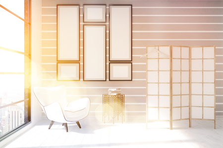 dressing up: Interior of dressing room with stripped wall, image gallery and white armchair. Concept of cozy flat. 3d rendering. Mock up. Toned image. Stock Photo