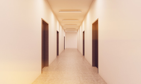 hotel lobby: Corridor with lots of dark brown doors. White walls and ceiling, concrete floor. Concept of hotel lobby. 3d rendering. Mock up. Toned image Stock Photo