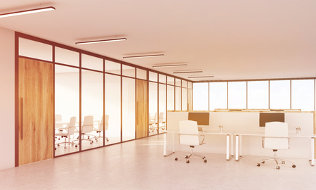 view of an atrium in a building: Cubicles with computers and corner of conference room. Office lobby, wooden doors. Concept of consulting company. 3d rendering. Toned image