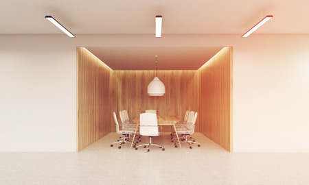 board meeting: Conference room with wooden walls, large table and white leather chairs around it. Concept of board meeting. Toned image. 3d rendering. Mock up