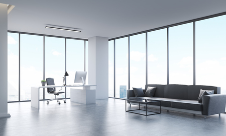 office life: Panoramic city view from office with long gray sofa, white computer table and black leather armchair. Concept of office life. 3d rendering. Stock Photo
