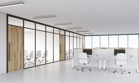 view of an atrium in a building: Conference room with glass walls and office with cubicles and computers on white tables. Concept of consulting company or law firm. 3d rendering