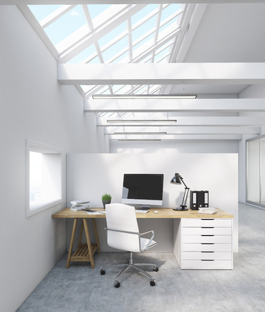attic room: Office cubicle in attic room with table, computer screen, lamp and binders. 3d rendering. Mock up. Stock Photo