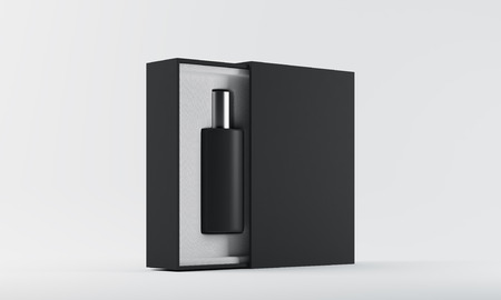 Black perfume bottle in open box against white background. Concept of eau de cologne and new fragrance. 3d rendering. Mock up Banco de Imagens
