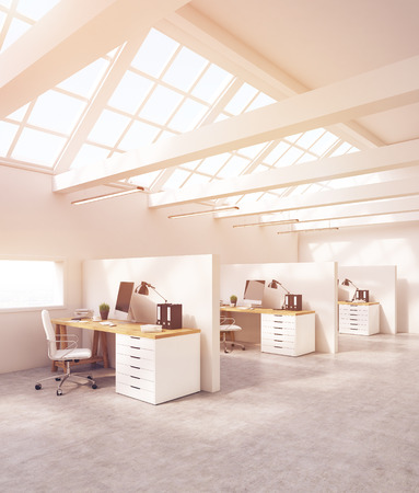 office cubicle: Side view of office cubicles with computers, desks, folders and big windows in roof. Concept of design studio. 3d rendering. Toned image Stock Photo