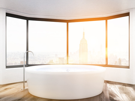 bath tub: Sunlit bathroom with panoramic window and round bath tub. New York City. Concept of bathing. 3d rendering. Toned image