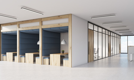 view of an atrium in a building: Blue office cubicles and meeting room interior with glass walls. Concept of business and company interior. 3d rendering.