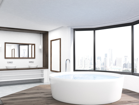 penthouse: Bathroom interior with round bath tub, two sinks and New York City view through panoramic window. Concept of self care. 3d rendering. Mock up