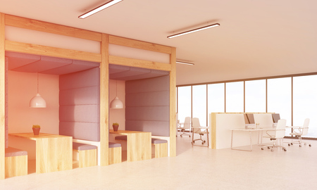 view of an atrium in a building: Dining area and cubicles with computers and office tables. Concept of productive work. 3d rendering. Toned image