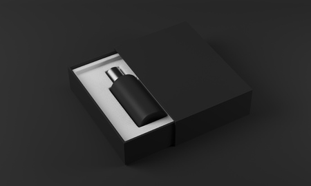 eau de perfume: Black and silver bottle of perfume in white and black box on black background. Concept of new fragrance. 3d rendering. Mockup Stock Photo