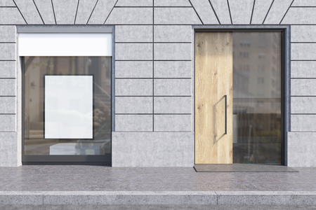 shopfront: Shop window with white promotional poster and glass and wooden door. Concept of pr and marketing, copyshop. 3d rendering. Mockup
