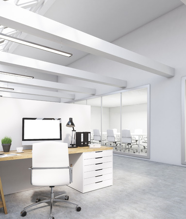 office cubicle: Computer screen with potted plant, lamp, binders and desks. Meeting room in background. Concept of office routine. 3d rendering. Mock up.
