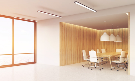 view of an atrium in a building: Office interior with large windows, conference rooms with long table and leather armchairs. 3d rendering. Mock up. Toned image