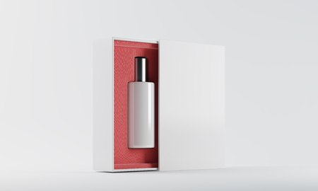 eau de perfume: White and silver bottle of perfume in red and white box against white background. Concept of new scent. 3d rendering. Mock up Stock Photo