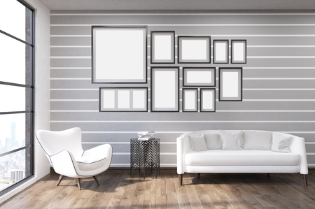 tendencies: Living room with gray and white walls, large window, white furniture and picture gallery. Concept of modern house decoration tendencies. 3d rendering. Mock up Stock Photo