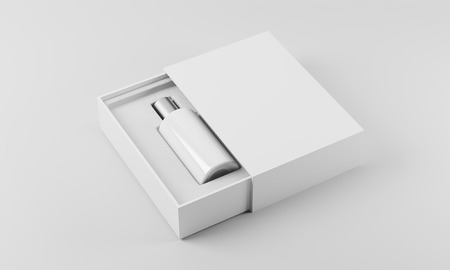 eau de perfume: White and silver bottle of perfume in white box against white background. Concept of new scent promotion. 3d rendering. Mock up