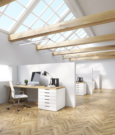 office cubicle: Cubicles in office in attic. Wooden beams, computer tables with desktops and leather armchairs. Concept of call center. 3d rendering. Stock Photo