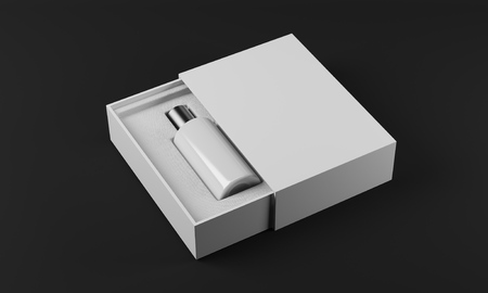 fragrance: White and silver bottle of perfume in white box laying on black surface. Concept of new fragrance. 3d rendering. Mock up