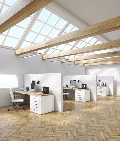 attic room: Office cubicles in attic room with desktops, tables and folders. Concept of accounting company. 3d rendering Stock Photo