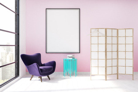 dressing up: Modern dressing room interior in luxury apartment. Purple armchair, white and yellow screen, coffee table. Concept of fashion. 3d rendering, mock up