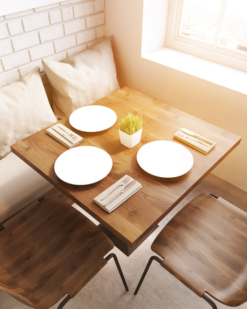 fine dining: Top view of square table in restaurant with sofa, pillows and chairs. Concept of business lunch. 3d rendering, toned image Stock Photo