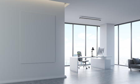Office interior with poster on white wall, desk and sofa. Computer on table. Concept of accounting company. 3d rendering, mock up