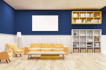 #62055360   Wohnzimmer Interieur Mit Holzboden, Blaue Und Weiße Wände,  Sofa, Sessel Und Schränke. Konzept Der Gemütlichen Wohnung. 3D Rendering.