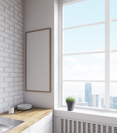 kitchen window: Kitchen corner with plate, sink, large window and narrow vertical poster on wall. Concept of family gathering. 3d rendering. Mockup Stock Photo