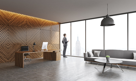 Businessman in suit standing in New York company office looking to window and thinking. Concept of CEO work. 3d rendering.