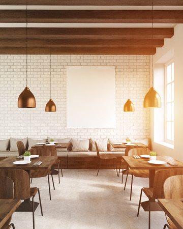 rendering: Coffee shop interior with vertical poster, tables and chairs. Concept of modern establishment and eating out. 3d rendering. Mock up. Toned image