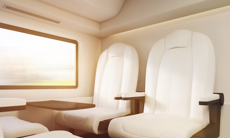 passenger compartment: White soft armchairs near small table and window in train. Concept of long distance business trips. 3d rendering, toned image