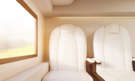 compartment: Sunlit train compartment with white leather armchairs and window. Concept of long distance business trips. 3d rendering, toned image