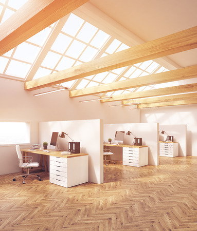 office cubicle: Office interior in attic with cubicles, computer desks, desktops and folders. Concept of design studio. 3d rendering, toned image