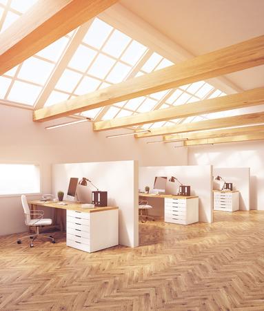 attic: Office interior in attic with cubicles, computer desks, desktops and folders. Concept of design studio. 3d rendering, toned image
