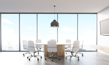 lcd: Front view of round meeting room table with leather armchairs around it. Tv set hanging on wall near large panoramic window. Concept of brainstorming. 3d rendering Stock Photo