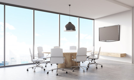 lcd: Conference room interior with round wooden table, white leather armchairs and lcd tv on wall. Panoramic city view. Concept of accounting company. 3d rendering, mock up