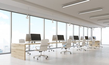 panoramic business: Design company interior with rows of computers and panoramic windows. Concept of comfortable working conditions importance for productive business. 3d rendering
