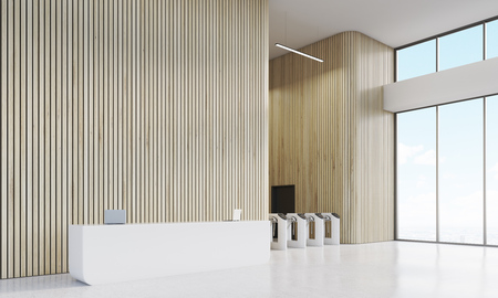 reception table: Entrance to modern business building. White reception table with laptops, large windows and turnstiles. Concept of security measures. 3d rendering, mock up