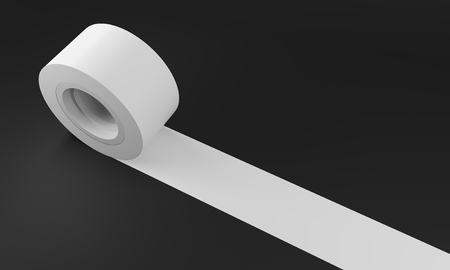 rolled up: White insulating tape against black background. Concept of renovation. 3d rendering. Mock up