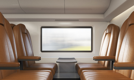 compartment: Comfortable brown leather armchairs in train compartment with small table and blurred scenery in rectangular window. Concept of public transportation 3d rendering.