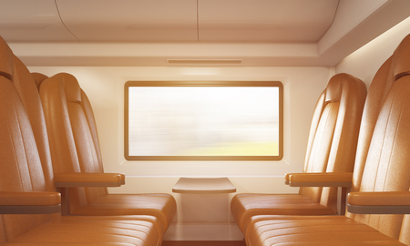passenger compartment: Side view of armchairs made of broun leather near small table attached to wall in train. Concept of long distance trip. 3d rendering, toned image