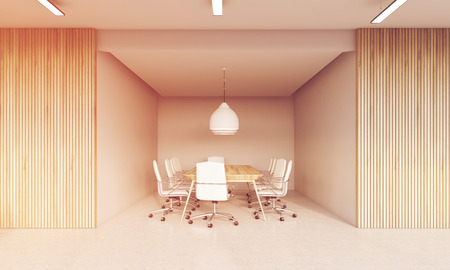 large office: Meeting room interior with wooden and white walls. Large table surrounded by white office chairs. Concept of negotiations. 3d rendering, toned image