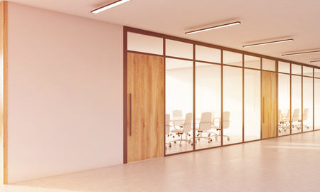 toning: Two conference rooms with glass walls and wooden doors. Concept of modern company. 3d rendering. Mock up. Toned image