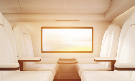 passenger compartment: Four armchairs made of white leather. Small table attached to wall and window. Concept of public transportation. 3d rendering, toned image Stock Photo