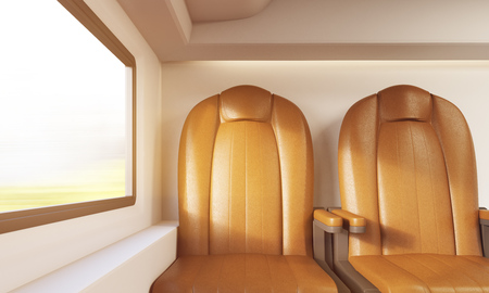 passenger compartment: Front view of two leather armchairs in modern train compartment. Concept of up to date vehicles. 3d rendering, toned image