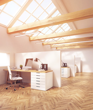 attic: Office cubicles in attic office with windows. Wooden floor. Concept of office work. 3d rendering. Toned image Stock Photo