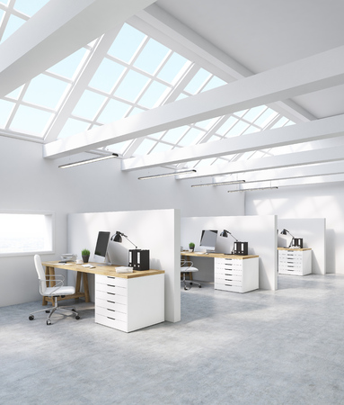 office cubicle: Side view of office cubicles with computer screen, binders, tables and windows in roof. Concept of legal company. 3d rendering.