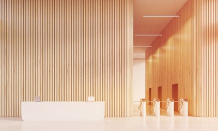 measures: White reception counter with laptops in office with wooden walls and turnstiles. Concept of security measures. 3d rendering, mock up, toned image